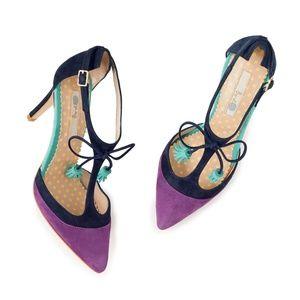 Boden Alice Heels purple blue t strap tassel pumps